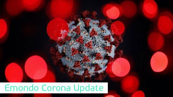 Abbildung und Text Information zum Emondo Corona Update